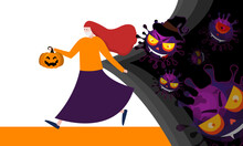 Young Woman In Halloween With Jack-o-lantern  She Is In Anxiety And Fear Because Of The Corona Virus.  Corona Virus Vector Illustration.