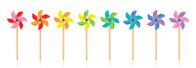 Pinwheels - Colored Pinwheel Set, Spinning Toy With Wooden Stick. Isolated Vector Illustration On White Background.