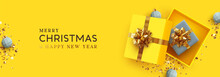 Yellow Christmas Banner. Xmas Background Realistic Design Open Gifts Box With Surprise, Bauble Ball 3d Render And Glitter Gold Confetti. Horizontal New Year Poster, Greeting Card, Headers Website