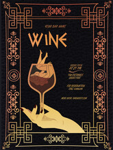 Wine Festival Promotional Poster Or Invitation Flyer. Design For Wine Event In Greek Ornamental Style . For Poster, Promotional Leaflet, Invitation. Wine Glass, Woman Hand, Lettering. Vector EPS 10