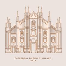 Hand Drawn Cathedral Duomo Di Milano Illustration Design In Vector.