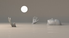 A Woman Floats On Her Back Through Muddy Water Looking At A Luminous Sphere 3d Illustration In Nft Style With Deep Meaning In Grey Warm Calm Colors