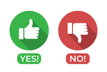 Yes And No Icon With Thumbs Up And Thumbs Down