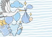 Happy Birthday Greeting And Invitation Card. Holiday Baby Boy Shower Celebration Simbols.