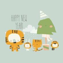 Cute Cartoon Animals Celebrating New Year Wearing Tiger Costumes