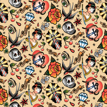 Tattoo Seamless Pattern For Party, Anniversary, Birthday. Design For Banner, Poster, Card, Invitation And Scrapbook