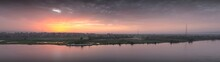 Panorama Sunset Scene From Sohag City In South Egypt Showing Qaraman Island Which Overlooks The Nile River