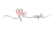 Couple Pastel One Line Pink Watercolor Marker Minimalism Minimalistic Love Black White Graphic