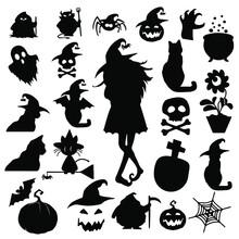 Objetos De Halloween, Iconos De Halloween, Silueta De Cosas De Halloween