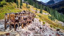 Detail Of Old Beautiful Mining Mill Equipment Abandoned And Falling Apart In The Mountains