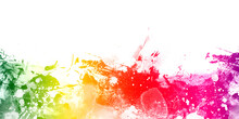 Abstract Rainbow Watercolor Background With Splashes