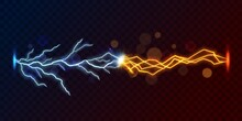 Lightning Thunderbolt Against Short Circuit Flash, 3d Vector On Transparent Background. Electric Energy Discharge With Blue And Yellow Lightning Bolts, Sparks And Bokeh Lights, Vs Or Versus Battle