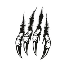 Dragon Claw Marks And Scratches, Vector Paw Of Scary Monster Animal. Horror Talons Ripping, Tearing Or Scratching Through Background With Holes, Torn Traces And Slashes, Mythological Beast