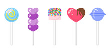 Candy Set Flat Cartoon On A Stick. Marshmallows With Colored Sprinkles, Heart In Chocolate Glaze And Purple Valentine Shape, Round Candy With A Spiral Inside, Blue Lollipop. Bonbon Sweets Collection