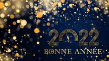 Carte Ou Bandeau Sur Une Bonne Année 2022 En Or Sur Un Fond Bleu Foncé En Dégradé Avec Des étoiles Et Des Ronds De Couleur Or En Effet Bokeh