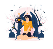 Fallen Angel Sit And Holding A Lantern In The Middle Of Forest On Halloween Concept Illustration