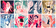 Set Of Modern Cards With Pretty Girls In Swimwear With Tropical Leaves On The Background. Pose. Flat Illustrtation. Template For A Postcard, Poster, Banner, T-shirt Print.