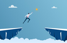 Businessman Is Jumping To Reach The Star Between The Cliff, Business Concept Illustration