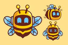 Cute Bee Robot Cartoon Character