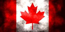 Closeup Of Grunge Canadian Flag