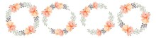 Beautiful Romantic Collection. A Wreaths Of Flowers With Text. Set Of  Colorful Vector Floral Wreaths