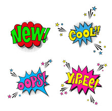 Ser Comic Lettering New, Cool, Oops, Yippee. Vector Bright Cartoon Illustration In Retro Pop Art Style. Comic Text Sound Effects. EPS 10.