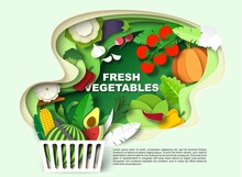 Supermarket Shopping Basket Full Of Fresh Vegetables And Fruits, Vector Illustration In Paper Art Style.
