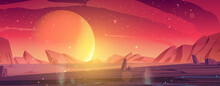 Alien Planet Landscape, Dusk Or Dawn Desert Surface With Mountains, Rocks And Sun Shining On Red And Orange Starry Sky. Space Extraterrestrial Computer Game Background, Cartoon Vector Illustration