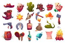 Set Of Wild West Icons Cowboy Hat And Boots, Sheriff Star, Gun, Dynamite And Axe, Skull In Mask, Snake, Tequila And Diamond, Cactus, Horseshoe, Saddle And Sack With Gold, Cartoon Vector Illustration