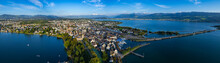 Aerial View Of The City Rapperswil-Jona In Switzerland On A Sunny Afternoon.