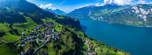 Aerial View Around The City Obstalden In Switzerland On A Sunny Day In Summer.