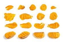 Orange Hummus Smear Isolated Spicy Tahini Spread