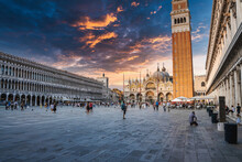 Venice, Italy. July 10, 2021. Basilica Di San Marco And Piazza San Marco In Venice, Italy. Architecture And Landmark Of Venice. Beautiful Cityscape Of Venice At Sunset.