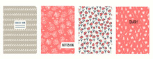 Cover Page Templates Based On Seamless Patterns With Anemone, Poppies, Inflorescences And Spiral Lines As Cursive Imitation. Backgrounds For Notebooks, Notepads, Diaries. Headers Isolated, Replaceable