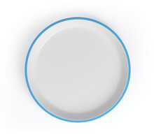 Saucer With Blue Border Top View Isolated On White Background