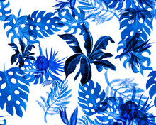 Azure Monstera Wallpaper. Navy Banana Leaf Print. Cobalt Seamless Backdrop. Indigo Pattern Background. Blue Watercolor Leaves. Tropical Illustration. Botanical Wallpaper.