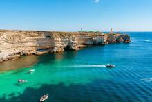 Picturesque Seascape With Azure Water And Rocks. Tarkhankut Peninsula, Crimea