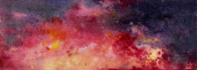 Abstract Watercolor Background In Red And Black Colors. Ominous Infernal Background. Abstraction Volcanic Eruption, Energy Of Destruction.