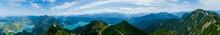 Karwendel Mountains. Web Banner Of Alp Lakes (Kochelsee, Walchensee) And Bavarian Village Kochel Am See. Bavarian Prealps In Germany, Europe. Heimgarten Ridge Walk, Hiking Path On The Herzogstand