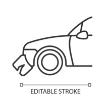 Broken Bumper Linear Icon. Car Crash. Visible External Damage. Striking Another Vehicle. Thin Line Customizable Illustration. Contour Symbol. Vector Isolated Outline Drawing. Editable Stroke
