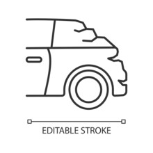 Broken Boot Linear Icon. Bumping Vehicle From Behind. Rear-end Collision. Trunk Malfunction. Thin Line Customizable Illustration. Contour Symbol. Vector Isolated Outline Drawing. Editable Stroke