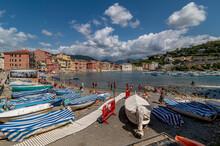 The Famous Bay Of Silence Beach In Sestri Levante, Liguria, Italy, On A Sunny Day