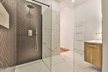 Contemporary Bathroom With Shower Cabin And Illuminated Mirror