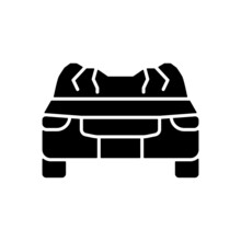 Car Roof Damage Black Glyph Icon. Rollover Accident. Auto Collapse. Equipment Failure. Automobile Roof Displacement. Vehicle Accident. Silhouette Symbol On White Space. Vector Isolated Illustration