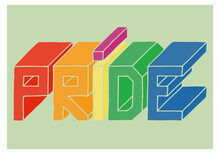 """The Inscription """"Pride"""" In LGBT Colors On A Green Background. Doodle. Hand Drawn."""