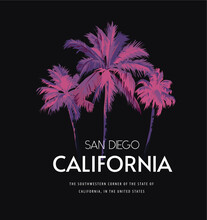 California Slogan With Palm Trees Inverted Color Vector Illustration On Black Background