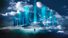 Futuristic Fantasy Landscape With Light Clouds. Natural Scene With Neon Light Reflected In Water. Neon Space Galaxy Portal. 3d Illustration