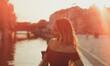 canvas print picture - Frau Blond Elegant mit Kleid in der Stadt Berlin
