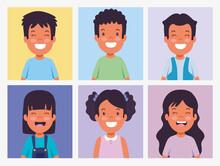 Set Children Smiling Photos