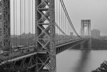 Grayscale Shot Of George Washington Bridge Over The Hudson River In New York, USA